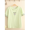 Leisure Cute Girls Short Sleeve Round Neck MPORTED Rabbit Graphic Scalloped Contrasted Pipe Relaxed T Shirt