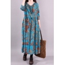 Ethnic Womens Three-Quarter Sleeve V-Neck Allover Floral Print Stringy Selvedge Linen Maxi Pleated Swing Dress