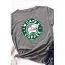 Basic Summer Girls Roll Up Sleeve Crew Neck Letter I CATS COFFEE Graphic Contrasted Relaxed Tee Top