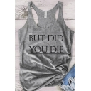 Leisure Summer Girls Sleeveless Scoop Neck Racer Back Letter BUT DID YOU DIE Print Loose Tank Top