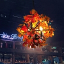4 Lights Maple Leaf Sphere Chandelier Industrial Red and Black Iron Hanging Lamp Kit