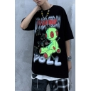 Dark Boys Graffiti Letter It's Sad Today Puppet Graphic Half Sleeves Crew Neck Relaxed Fitted T-Shirt