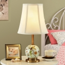 Bell Fabric Night Light Farmhouse 1 Light Bedside Table Lamp in White with Orb Printing Ceramics Deco