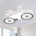 Cartoon LED Ceiling Flush White and Black Bike Flush Mount Light Fixture with Acrylic Shade
