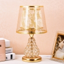 1 Bulb Fabric Table Light Traditional Gold Barrel Bedroom Nightstand Lamp with Pear Crystal Encrusted Base