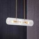 Horizontal Tube Pendant Light Fixture Postmodern Clear Glass 2-Head Brass Hanging Lamp over Island