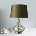 Army Green Tapered Drum Shade Night Lamp Modern 1 Head Fabric Table Light with Vase Hammered Glass Base