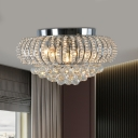 3 Lights Flush Mount Lamp Industrial Oval Crystal Ball Ceiling Light Fixture in Chrome