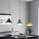 Metal Cone Multi Light Pendant Macaron Style 3 Heads Black-Green-Yellow LED Suspension Lamp