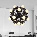 Sputnik Office Hanging Chandelier Industrial Metallic 18-Bulb Black Finish LED Suspension Light