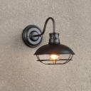 Saucer Restaurant Sconce Lamp Fixture Industrial Iron 1 Light Black/Coffee Finish Wall Mounted Light with Cage