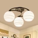 Globe Semi Flush Light Fixture Modernism Opal Glass 3/6 Heads Bedroom Flush Ceiling Lamp with Black Moon Frame