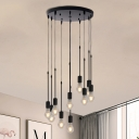 Metallic Exposed Bulb Multi Ceiling Lamp Vintage 3/5/10 Lights Coffee Shop Pendulum Light in Black with Linear/Round Canopy