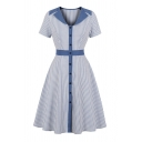 Special Occasion Stripe Pattern Short Sleeve Notched Collar Button down Contrasted Mid Pleated Swing Dress for Girls