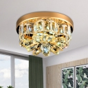 Scalloped Beveled Crystal Flushmount Minimalism LED Corridor Flush Ceiling Light in Gold