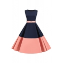 Womens Color Block Sleeveless Round Neck Belted Vintage Mid Pleated Swing Dress