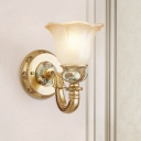 Bloom Bedroom Wall Mount Light Pastoral Style Frosted Glass 1 Light Gold Wall Sconce Lighting with Curved Arm