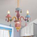 Crystal Candle Chandelier Light Fixture Kids 3/5/6-Bulb Pink Ceiling Pendant Lamp for Girls Bedroom