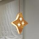 Star/Moon Wood Hanging Light Kit Cartoon 1 Light Beige Ceiling Pendant Lamp for Restaurant