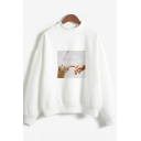 Cute Preppy Girls Long Sleeve Crew Neck Cat Patterned Loose Fit Pullover Sweatshirt