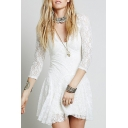 Sexy Womens Three-Quarter Sleeve V-Neck See-Through Lace Mini Plain Pleated A-Line Dress in White