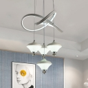 Urn Shaped Multi Light Pendant Acrylic 4 Bulbs White Hanging Light Fixture with Twisting Design for Bedroom