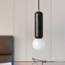 White/Black Capsule Pendant Lighting Minimalism 1 Light Marble Mini Hanging Ceiling Lamp with Modo Opal Glass Shade