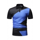 Mens Simple Casual Short Sleeve Spread Collar Button Up Colorblock Slim Fitted Polo Shirt