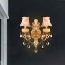 Gold Dual Curved Arm Wall Light Traditional 2-Light Crystal Candlestick Wall Sconce with Empire Fabric Shade