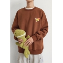 Casual Cool Mens Long Sleeve Round Neck Fish Patterned Loose Fit Pullover Sweatshirt