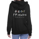 Womens Stylish Black Long Sleeve Letter BEST FRIENDS Print Loose Fit Hoodie