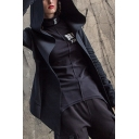 Punk Cool Girls Long Sleeve Open Front Sherpa Lined Irregular Fit Slim Fit Hoodie in Black