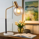Gold and Black Globe Table Light Post-Modern 1 Light White/Amber Glass Reading Lamp with Marble Base
