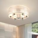 Chrome Cylinder Semi Flush Lighting Modern 6-Head White Milk Glass Flushmount Lamp with Drum Shade