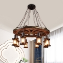 Wheel Restaurant Chandelier Lamp Farm Wood 8-Light Black Pendant Light Fixture with Lantern Clear Glass Shade