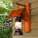 Copper 1 Bulb Sconce Lamp Retro Style Frosted Glass Kerosene Wall Light Fixture with Bamboo Roof Shade