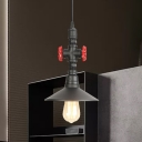 1 Head Saucer Pendant Light Fixture Industrial Black Finish Iron Ceiling Lamp with Adjustable Cord