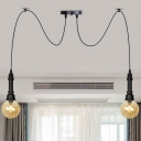 Amber Glass Ball Multi Pendant Light Vintage 2/3/6-Bulb Restaurant LED Swag Hanging Lamp Kit in Black