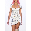 Cap Sleeve Turn-Down Collar Front Cutout Side Slit Butterfly Mini Dress in White
