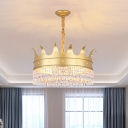 Metal Crown Shape Hanging Lighting Contemporary 4 Heads Living Room Chandelier Lamp with Crystal Accent in Gold