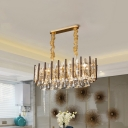 10-Light Island Pendant Light Modernist Tapered Crystal Hanging Ceiling Lamp in Gold