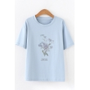 Leisure Womens Short Sleeve Crew Neck Letter Floral Graphic Regular Fit T-Shirt