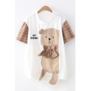 Unique Creative Womens Short Sleeve Crew Neck Letter MY FRIEND Plaid Bear Bow Tie Patched Loose T-Shirt in White