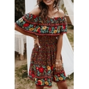 Gorgeous Ladies Off the Shoulder Ruffled Trim All Over Flower Pattern Mini A-Line Dress