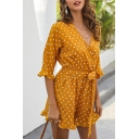 Gorgeous Ladies Half Sleeve Surplice Neck Polka Dot Printed Bow Tie Waist Ruffled Relaxed Romper in Yellow