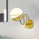 ostmodern 1 Head Wall Lamp Gold Mini Globe Sconce Light Fixture with Opal Glass Shade