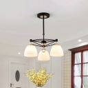 3/6-Head Dining Room Chandelier Lamp Modern Black Hanging Light with Bell Milk Frosted Glass Shade