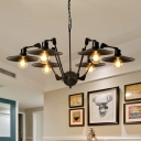 6/8 Lights Ceiling Chandelier Industrial Living Room Rotatable Pendant with Flat Metal Shade in Black