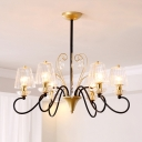 6/8 Heads Clear Ribbed Crystal Chandelier Modern Gold/Black-Gold Scroll Arm Bedroom Hanging Light Fixture with Tapered Lampshade