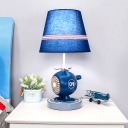 Barrel Night Light Cartoon Fabric LED Blue Nightstand Lamp with Helicopter Base for Bedroom